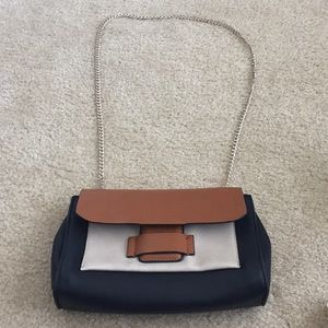 Zara Navy and Tan Purse with Gold Chain Strap